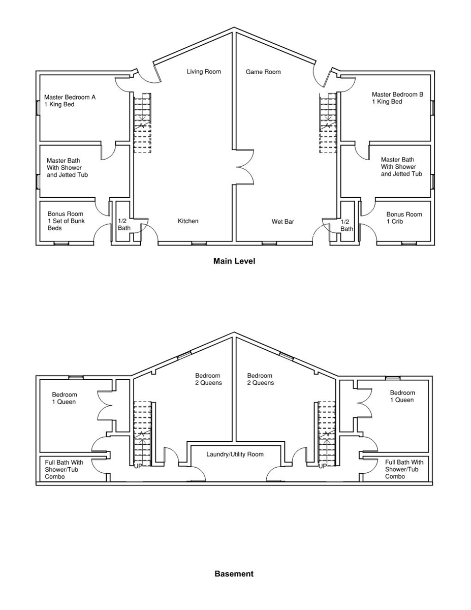 Floor Plan for Ruger Retreat, Large family cabin - Great location w/2 master suites - lots of space to spread out.